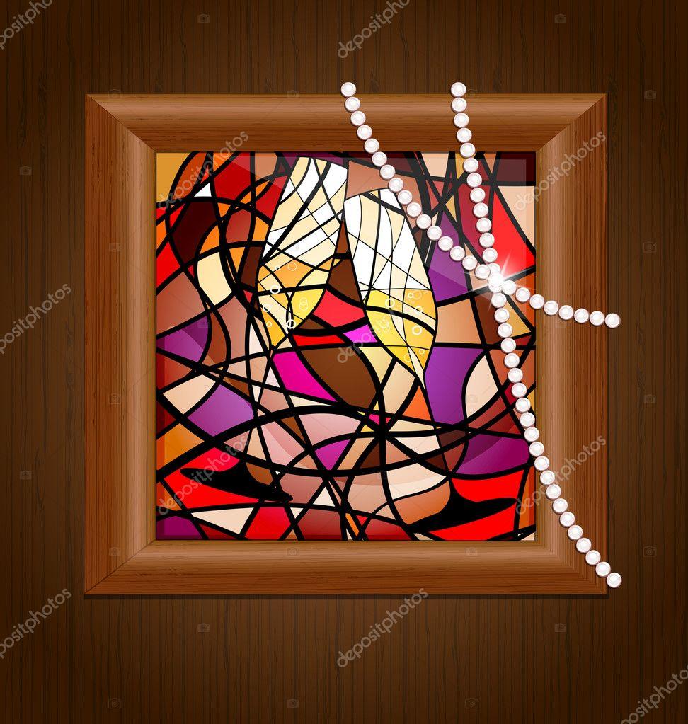 marco de madera y vidrieras con champagne — Archivo Imágenes ...