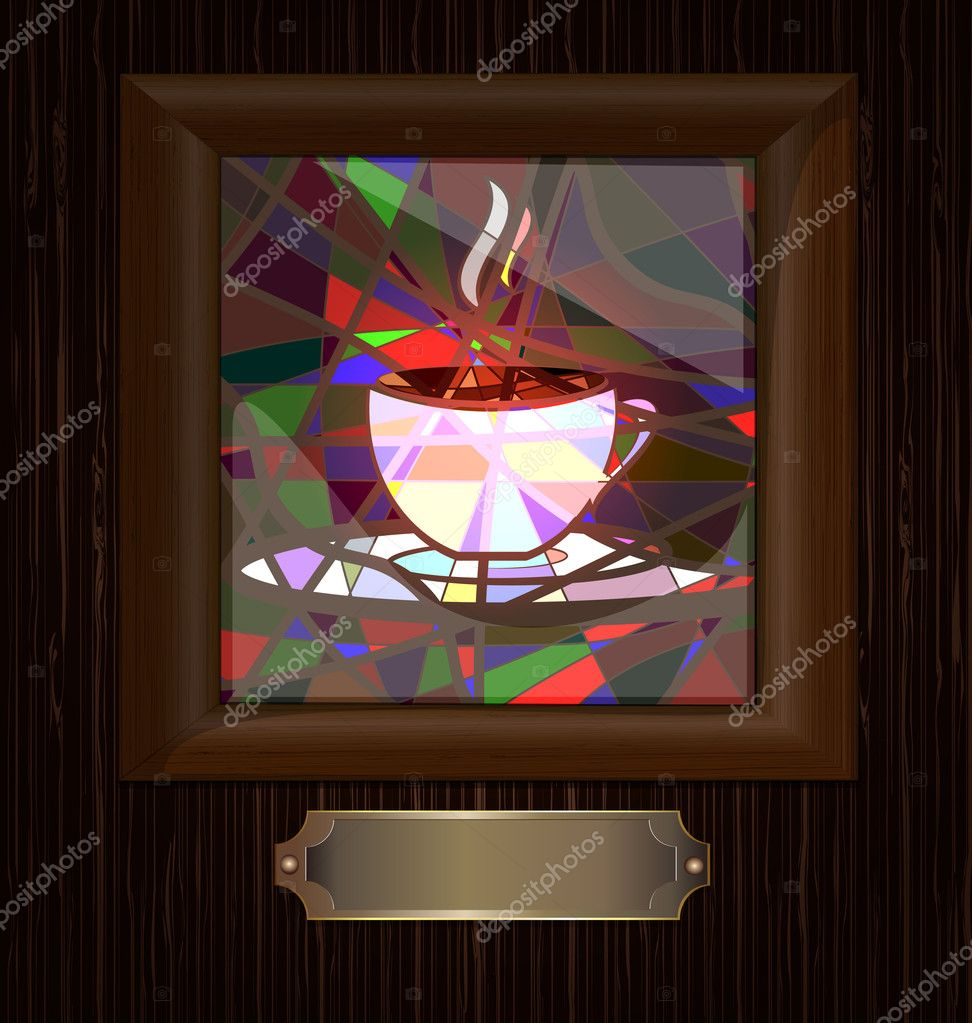 Wooden Frame And Stained Gl With Cup Of Coffee Stock Vector
