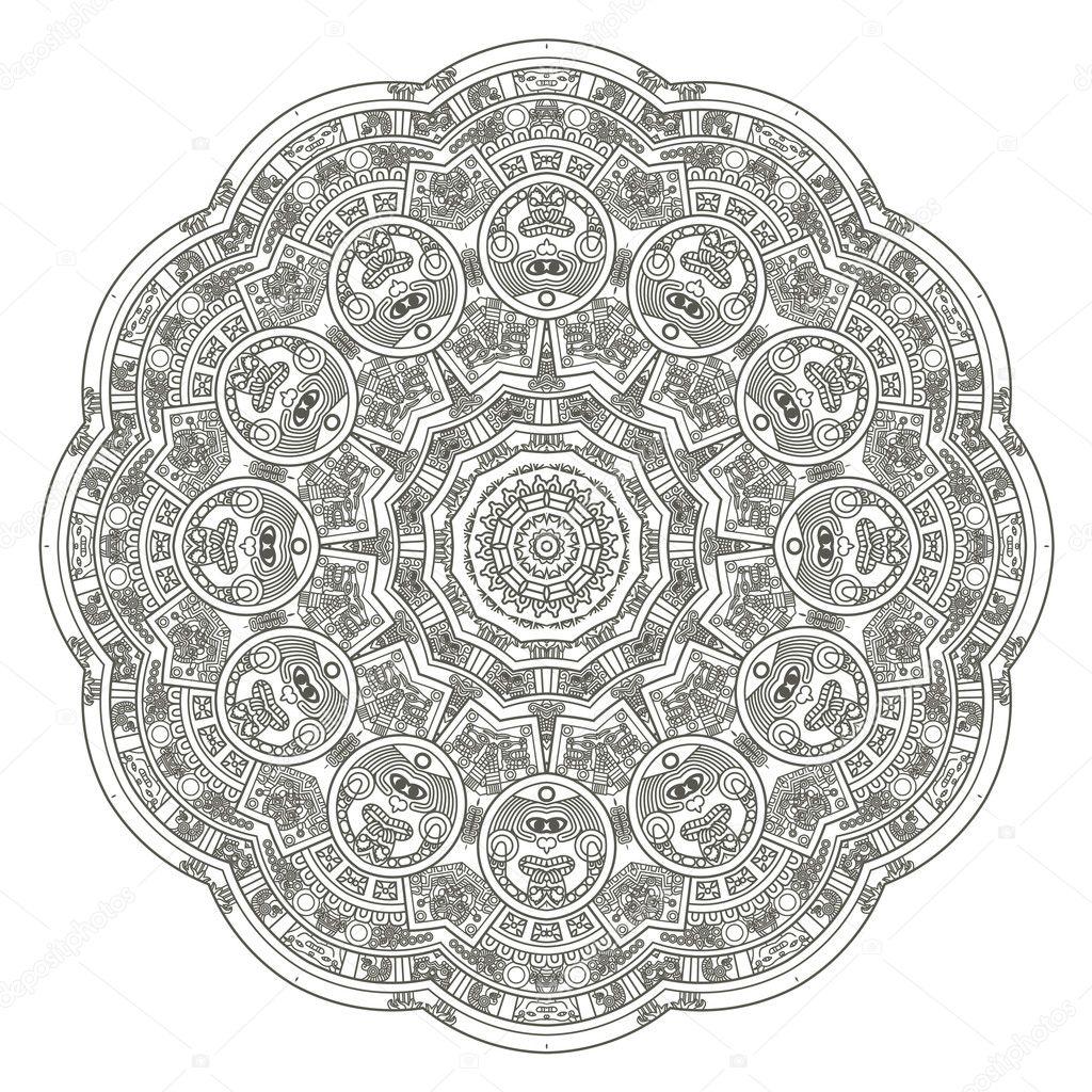 Calendario Azteca estilizada — Vector de stock © epic22 #10451495