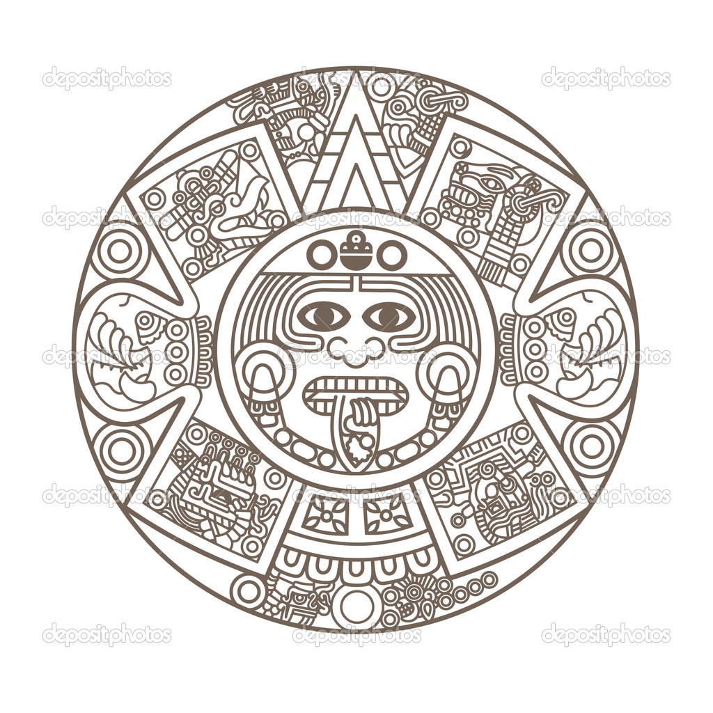 Calendario Azteca estilizada — Archivo Imágenes Vectoriales © epic22 ...