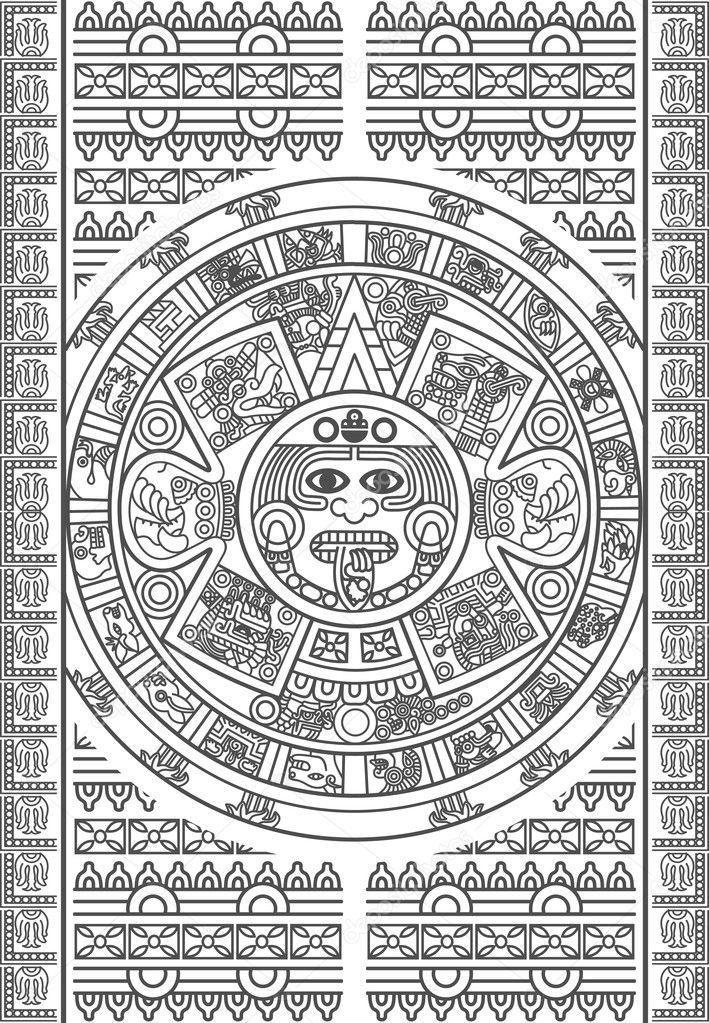 Aztec Calendar Illustration : Stylized aztec calendar — stock vector epic