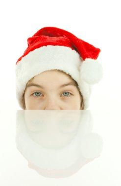 Pretty Santa girl, closeup portrait of a teen girl wearing Chris
