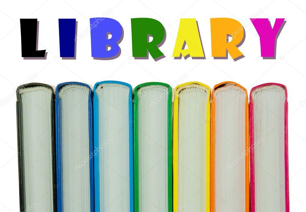 Hilera de espinas de coloridos libros - concepto de biblioteca ...