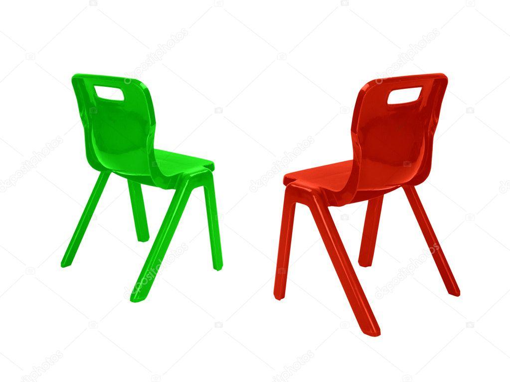 Czerwone I Zielone Krzesła Plastikowe Zdjęcie Stockowe