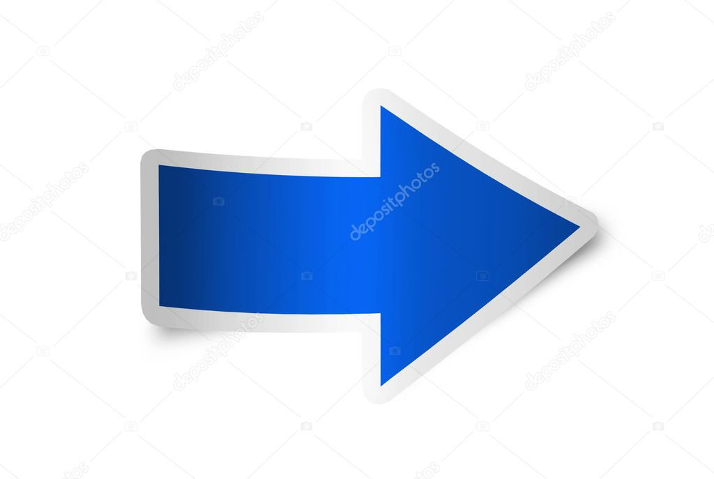 Right arrow icon blue, isolated