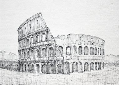Graphic Roman cityscape of Colosseum