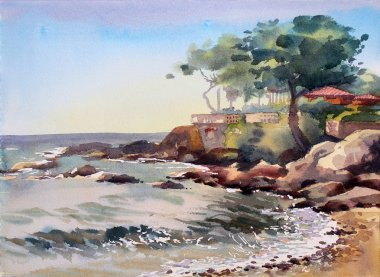 Watercolor painting of the Cote d Azur, France.