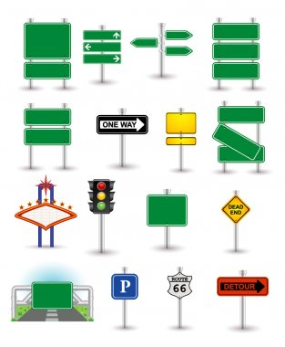 Set of green signs stock vector