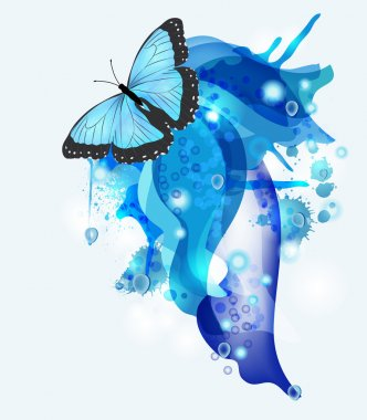 Abstract background with blue butterfly