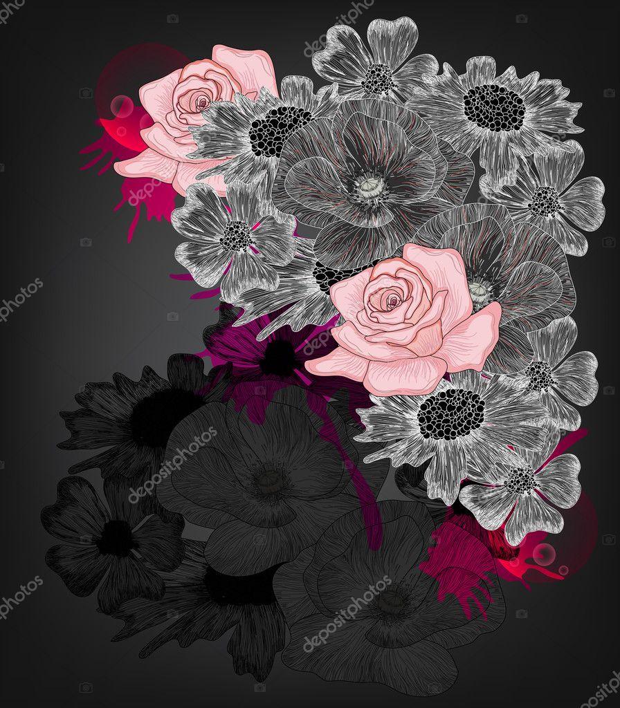Elegant hand drawn floral composition