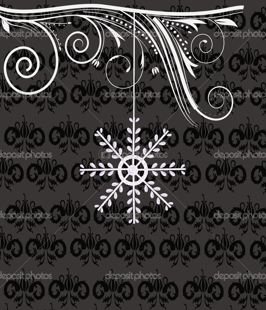 Winter background with precious snowflake