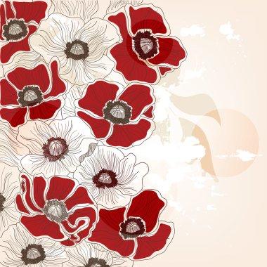 Vintage hand drawn poppies background