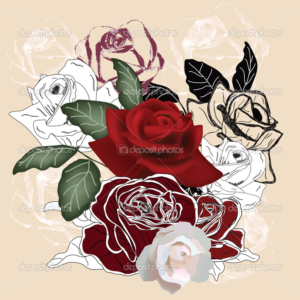 Composition with roses painted in different styles