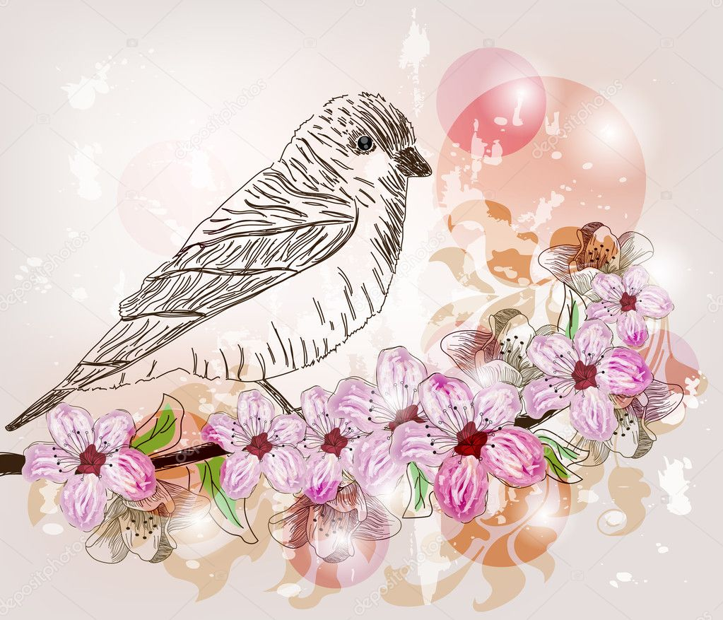 Artistic floral branch with bird