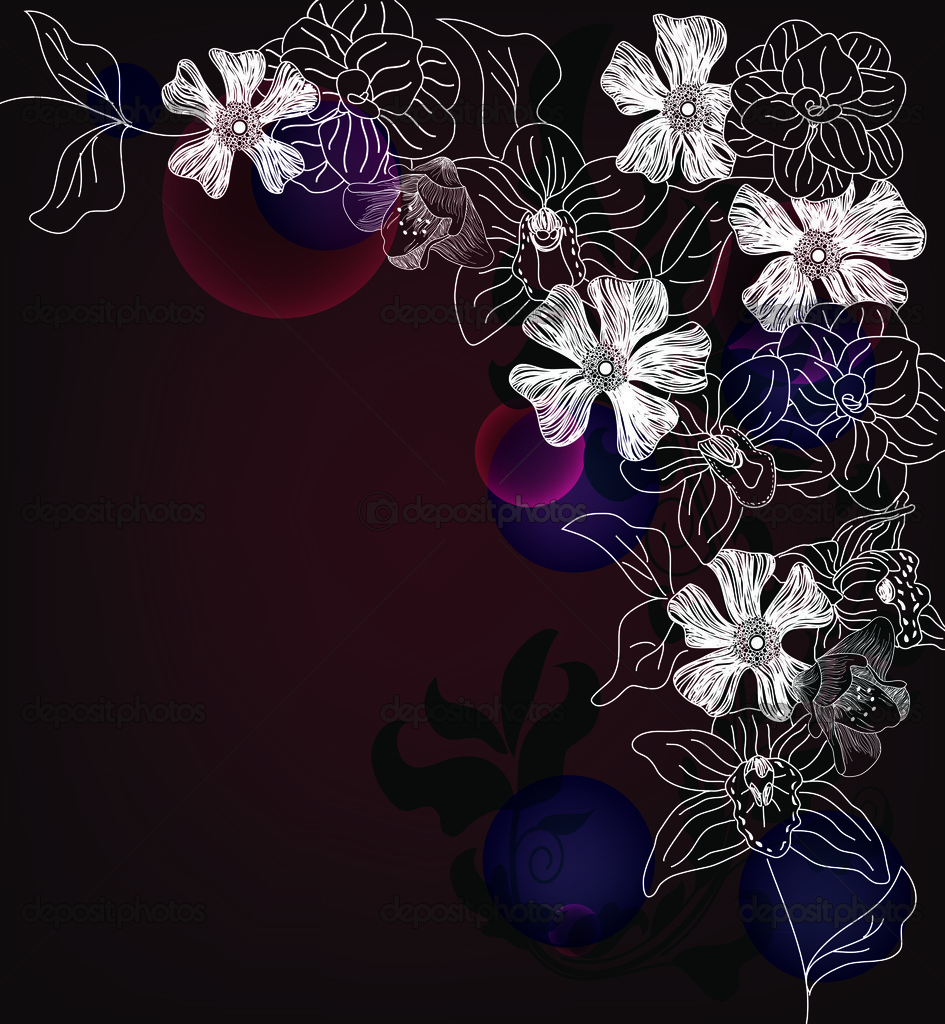 Hand drawn artistic floral background
