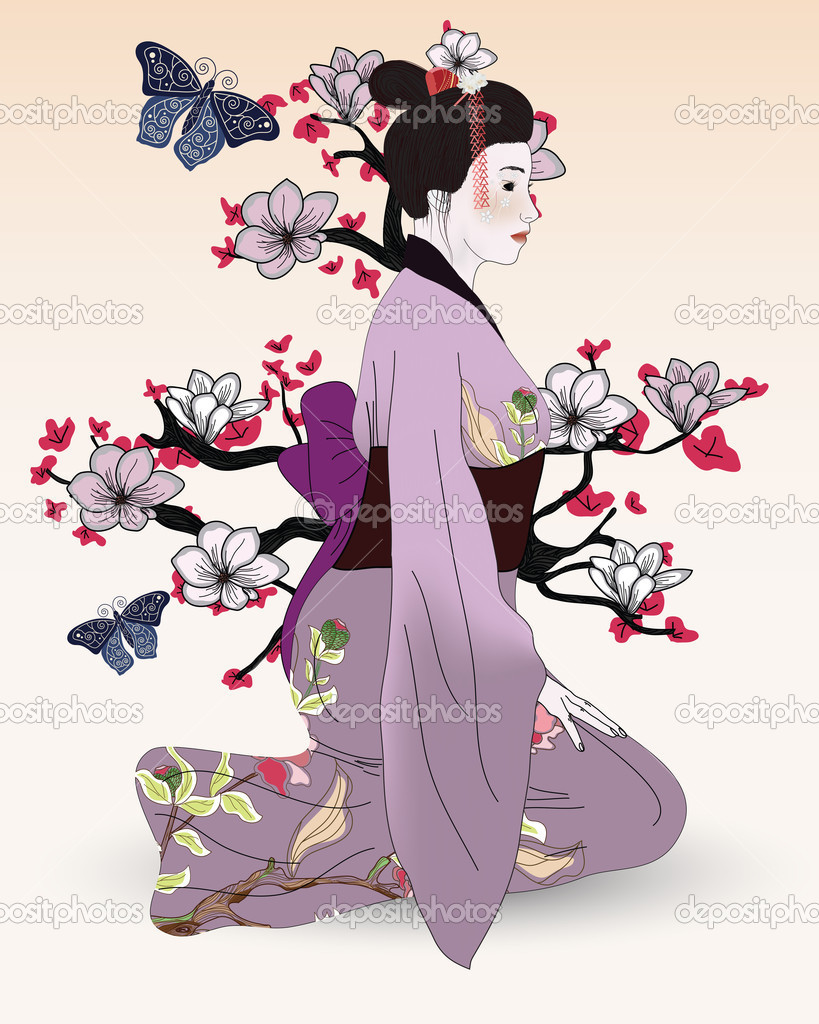 Beautiful geisha in a japanese garden