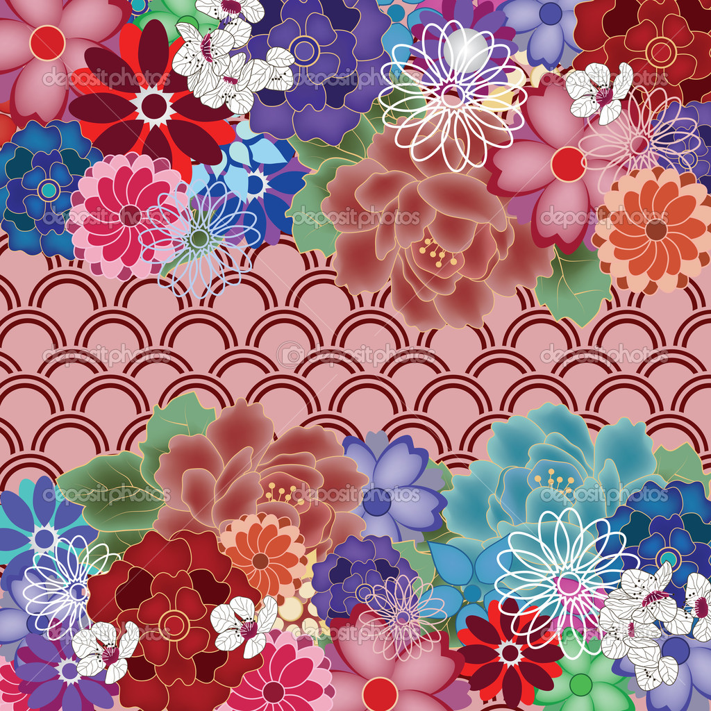 colorful oriental background with big peony flowers u2014 stock vector