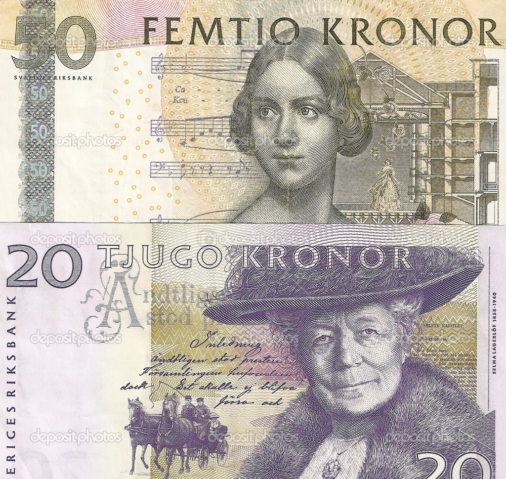 Fragment Swedish money - 20 and 50 SEK. The front side. — Stock Photo
