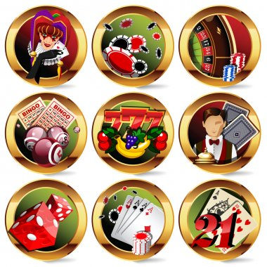 Eps8 vector casino or gambling icons set