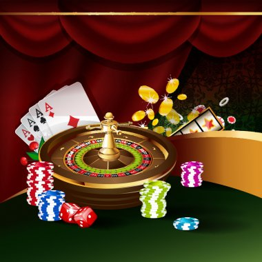 Roulette wheel with playing cards and poker chips