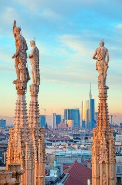 "Milan skyline from Milan Cathedral (""Duomo di Milano""). Italy."