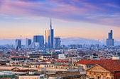 "Fotografie Milan skyline from ""Duomo di Milano"". Italy."