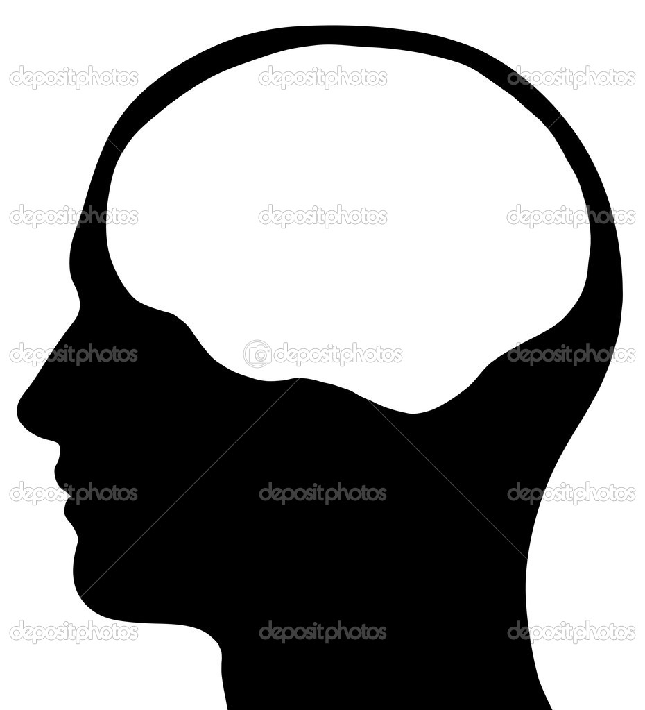 Male Head Silhouette With Brain Area