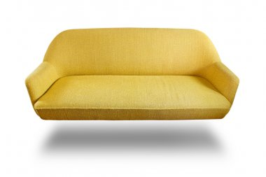 Yellow fabric sofa isolated with clipping path