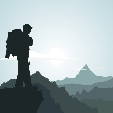 Hiking man with rucksack in mountain in the morning stock vector