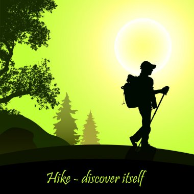 Hiking man with rucksack stock vector