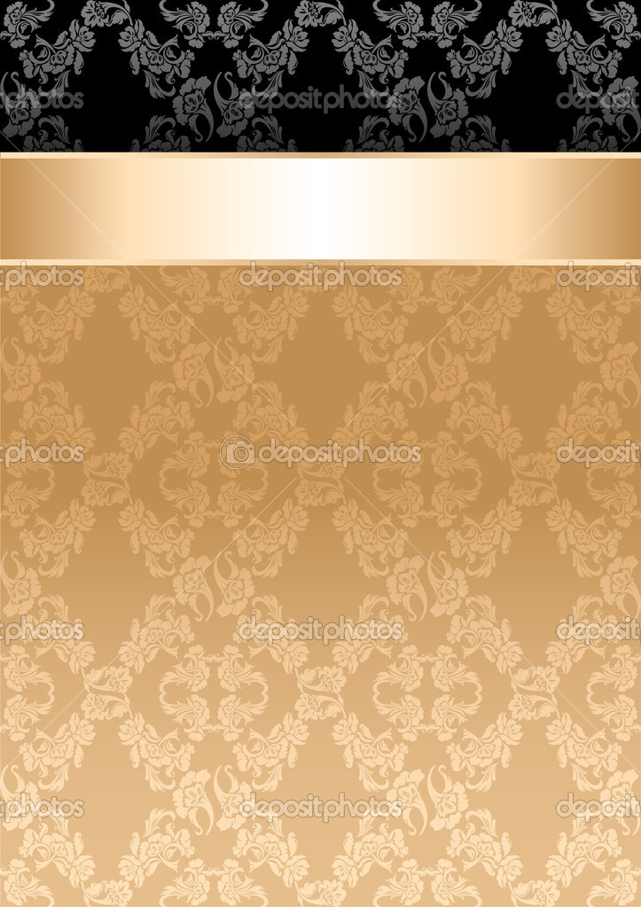 Background, gold ribbon, seamless floral pattern