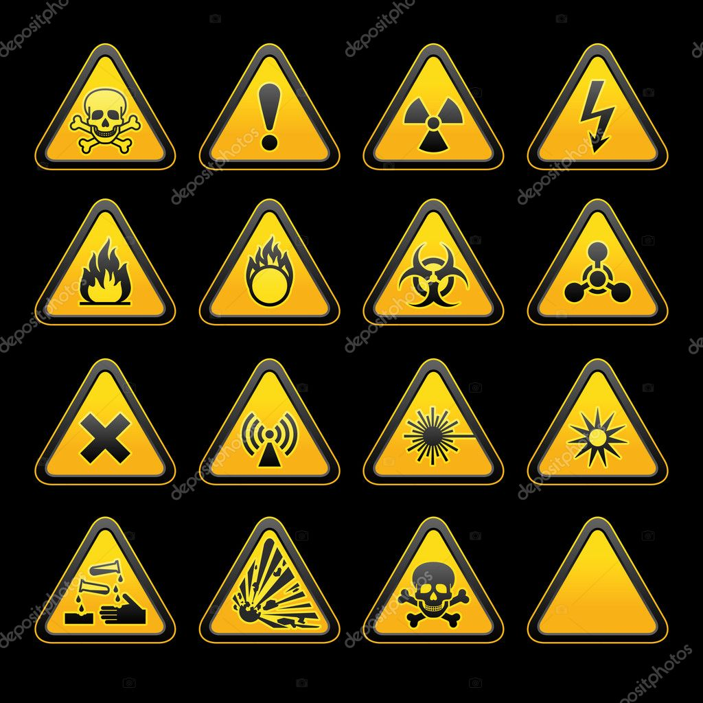 Set triangular warning signs hazard symbols stock vector set triangular warning signs hazard symbols stock vector biocorpaavc Gallery