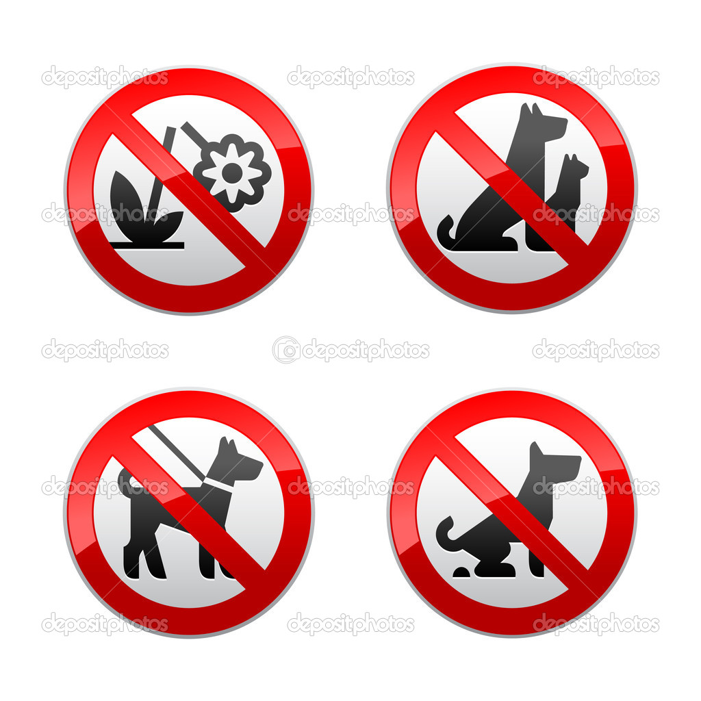 Set prohibited signs - animals