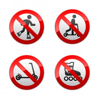 Set prohibited signs - scooter, Inline skates