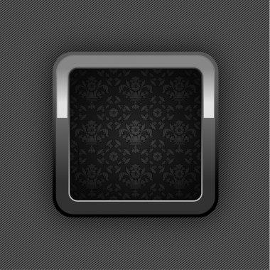 Chrome web button, button floral ornaments. 10eps