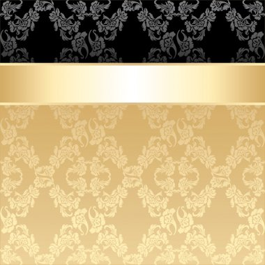 Seamless pattern, floral decorative background, gold ribbon