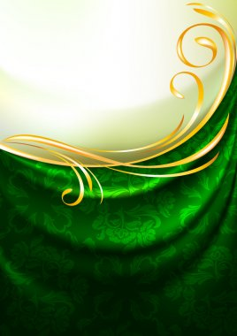 Green fabric drapes with ornament, background, Eps10, Gradient mesh
