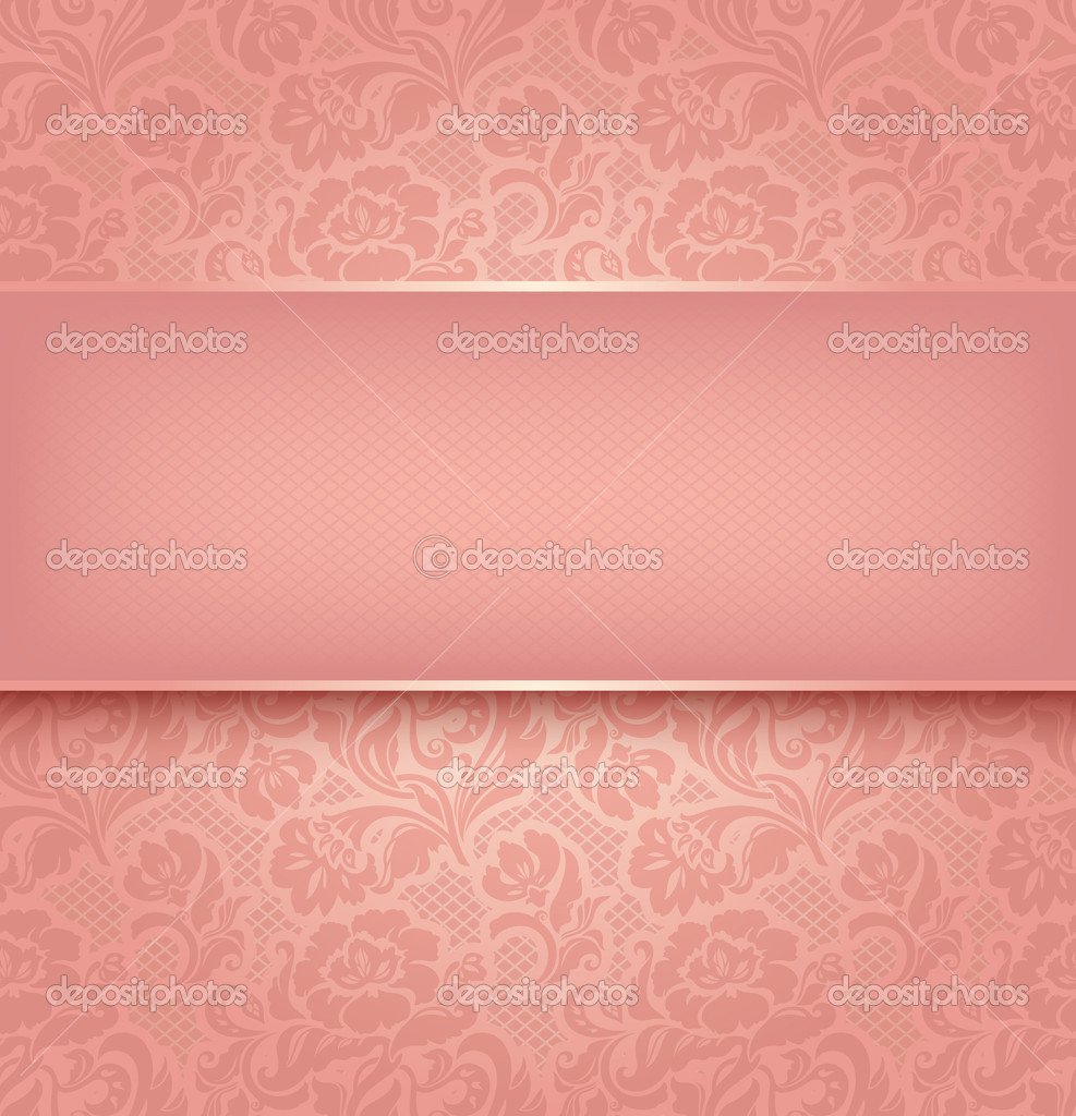 Lace background, pink ornamental fabric textural. Vector eps 10