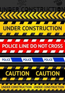 Set caution tapes, seamless strip. Warning line