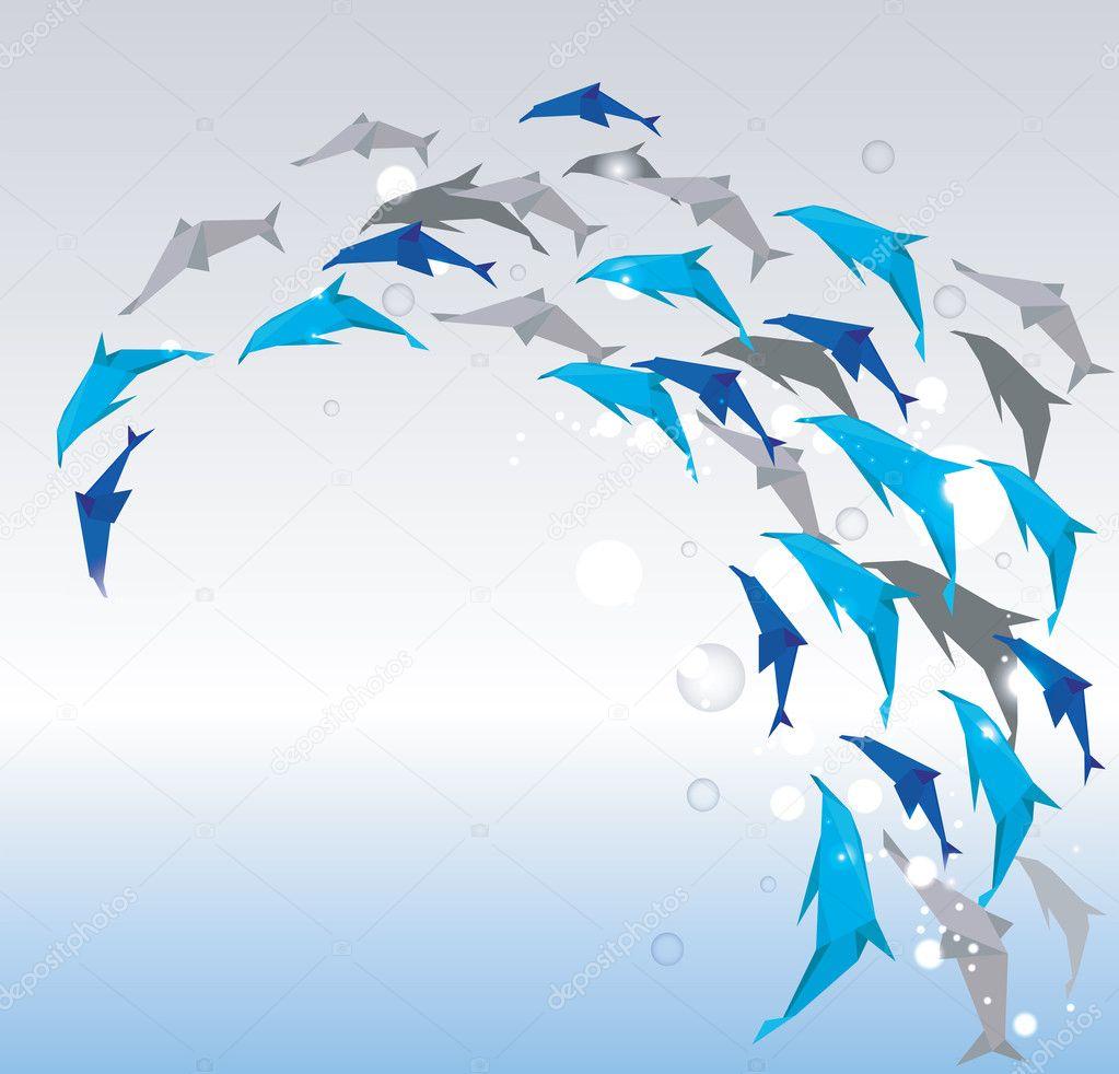 delfines de papel — Vector de stock © pilipa #10443719