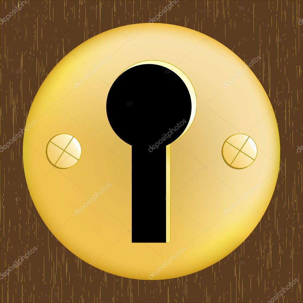 Door keyhole of golden metal on dark wooden door — Stock ...