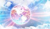 Fotografie Foto von verschiedenen leuchten auf der Weltkarte. Internationales Kommunikationskonzept