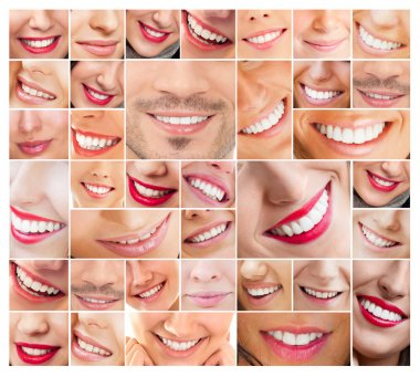 Faces of smiling in set. Healthy teeth. Smile