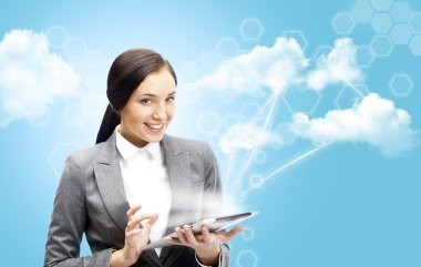 Cloud computing concept and business network. Businesswoman work