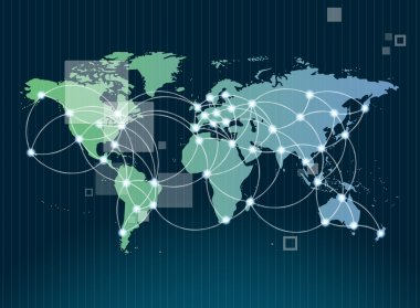 Global networking symbol of international comunication featuring