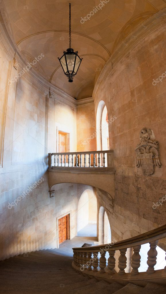 Charles V palace stairs and hall. Vertical panorama– Stock Editorial Photography