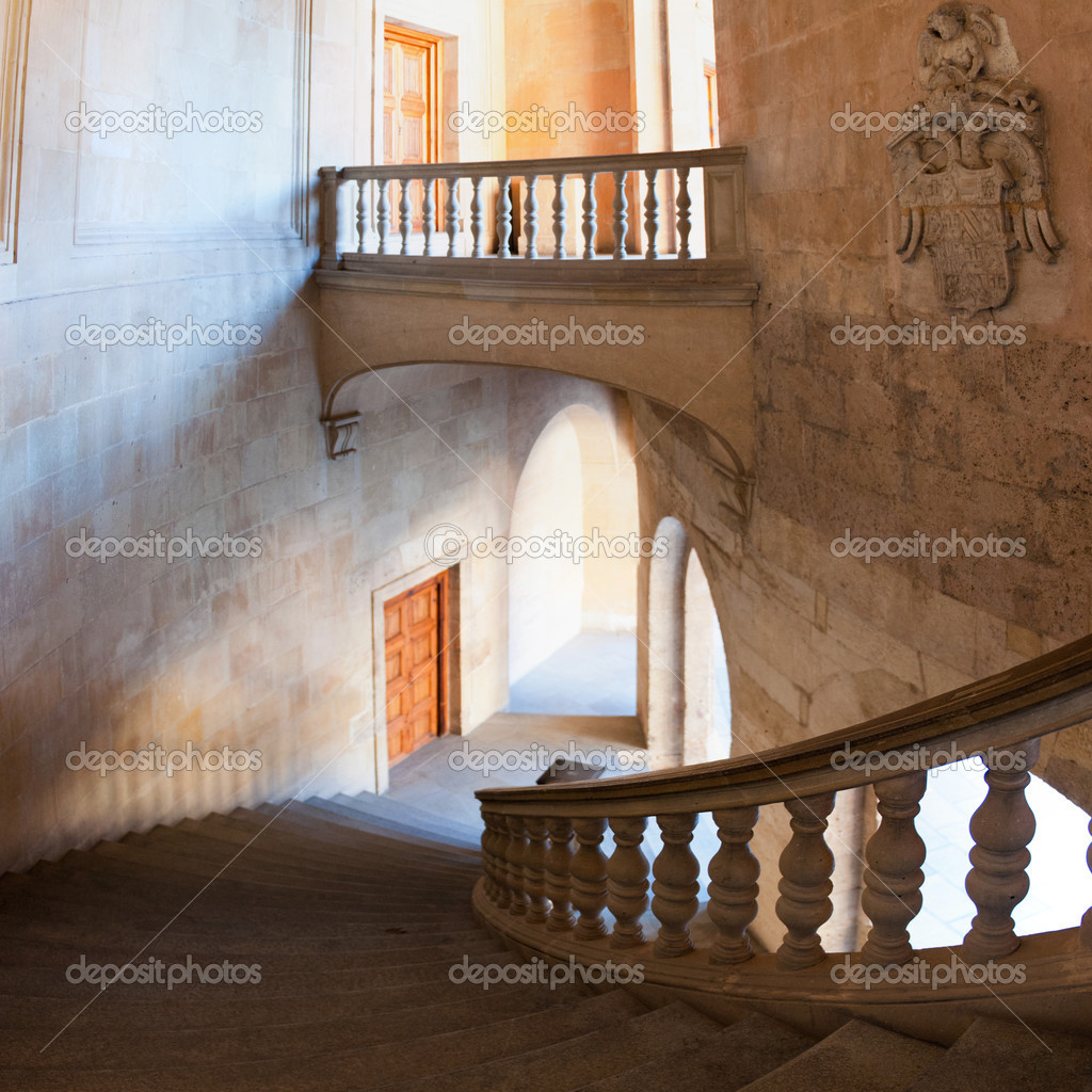 Charles V palace stairs and hall. Vertical panorama– stock image