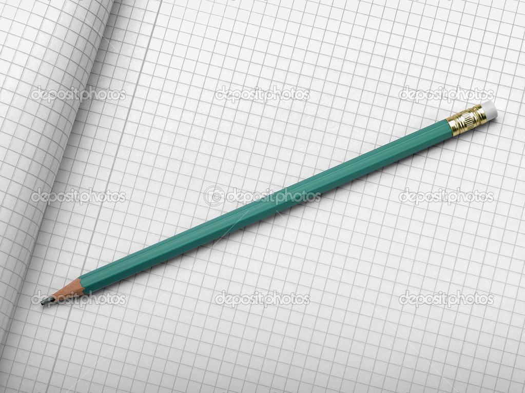 drafting paper or graph paper with pencil stock photo bombaert