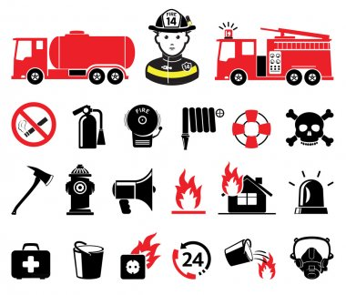 Firefighter icons, set