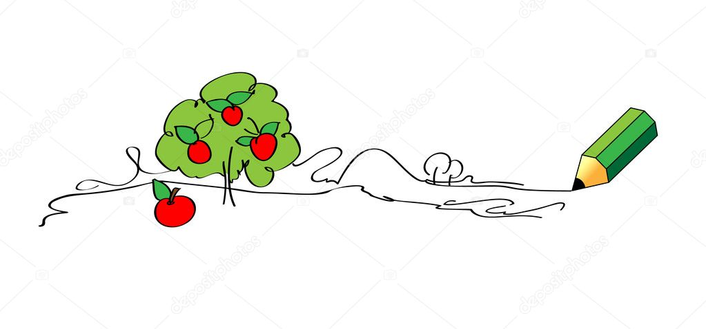 Green vector pencil drawing apple tree